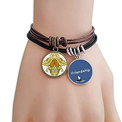 YMNW Modern Flower Parallel Baroque Pattern Friendship Bracelet Leather Rope Wristband Couple Set Estimated Price -
