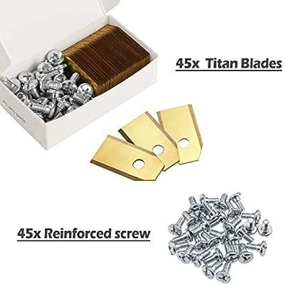 Zaeel cortacéspedes Cuchillas de Repuesto, 45pcs Titan láminas Cuchillas de Repuesto Hoja De Repuesto para Robots cortacésped Husqvarna Automower y ...