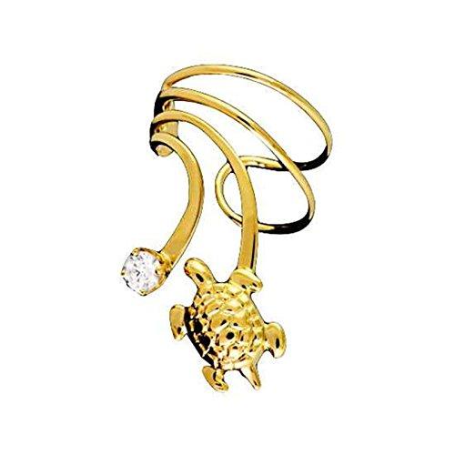 Gold Vermeil Pierceless Left Only Turtle Cubic Zirconia Wave Ear Cuff (Vermeil Turtles)