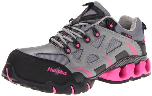 Nautilus Steel Toe Athletic Shoe (Nautilus 1851 Women's Comp Toe Waterproof EH Athletic Shoe,Grey/Pink,8.5 W US)
