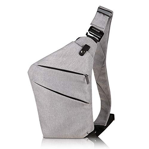 ANCHEER Canvas Sling Chest Bag, Small Unisex Vintage Messenger Crossbody Backpack for Traveling School Dating Shopping & Outdoor Activities (Sling Chest Bag_Gray) by ANCHEER