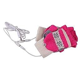 SEADEAR Winter Warm Snowflake USB Heated Fingerless Gloves Laptop Gloves Hands Warmer Gloves for Women Men Girls with Stylus Pink
