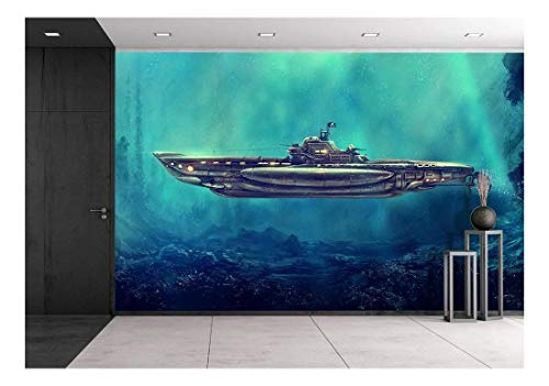 (wall26 - Illustration - Fantastic Pirate Submarine in The Underwater Environment. Digital Art, Raster Illustration. - Removable Wall Mural   Self-Adhesive Large Wallpaper - 100x144 inches )