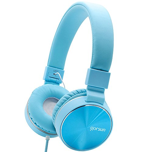 ONTA Gorsun Ear Headphones with Microphone, Wired HiFi Stereo Headphones with Comfortable Leather Protein Earpads Noise Cancellation Lightweight (Blue)