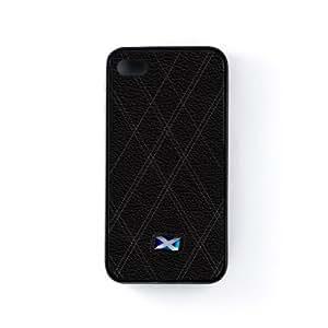 Scottish Flag on Stylish Black Leather - Flag of Scotland Funda Protectora Snap-On en Silicona Negra para Apple® iPhone 4 / 4s de UltraFlags + Se incluye un protector de pantalla transparente GRATIS