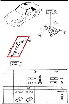 Mazda RX-7 1986-1988 New OEM Driver side pillar trim Red NOS FB01-68-190A-10