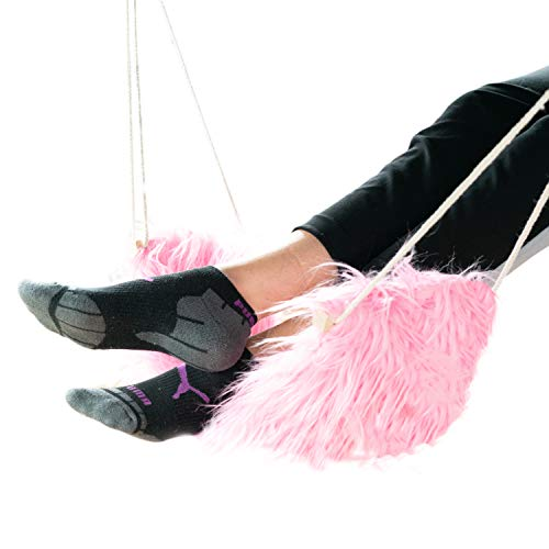 Cozy Living Hammock with Furry Fabric | Portable Foot Hammock & Leg Support | Relaxing & Comfortable Foot Rest | Cubicle Accessory for Office, Home, Study & Sitting in General (Pink)