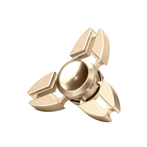 Metal ADHD Fidget Spinner Toys, Olawear Hand Fidgeting Desk Gadget for ADD Adults Autism Fidgeter Time Killer Stress Reduce Hekps Focus, Gold1 Pucover