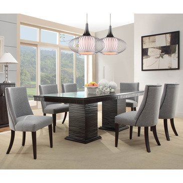 Amazon Com Homelegance Chicago 7 Piece Pedestal Dining Room Set In