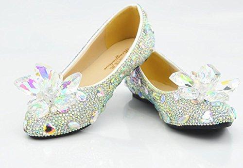 YCMDM piatto singoli pattini banchetti Scarpe testa rotonda donne della bocca superficiale scarpe di cristallo Diamonds , as picture , 37