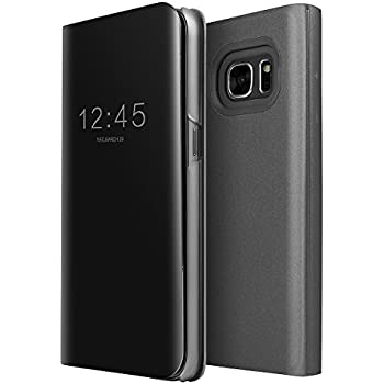 a135d1e2220 Galaxy S7 Case, AICase Luxury Translucent View Window Front Smart  Sleep/Wake Up Function Mirror Screen Flip Electroplate Plating Stand Full  Body Protective ...