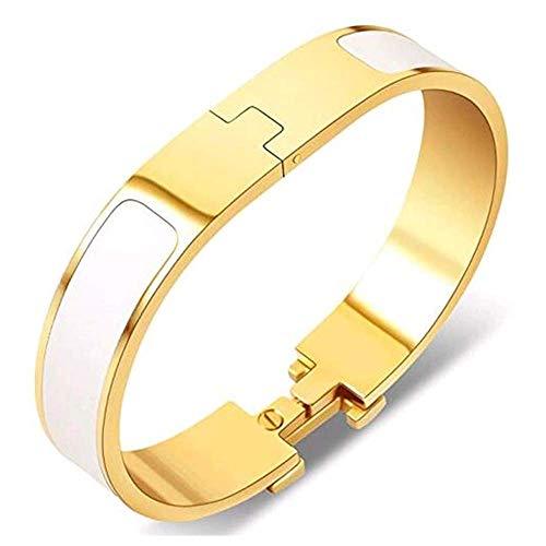 Glenda Dunn Stainless Steel Wide 18MM Fashion Buckle Bangle Enamel Bracelet Perimeter 6.7