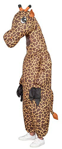 Giraffe Inflatable Halloween Costume Cosplay Jumpsuit (Adult) Brown -