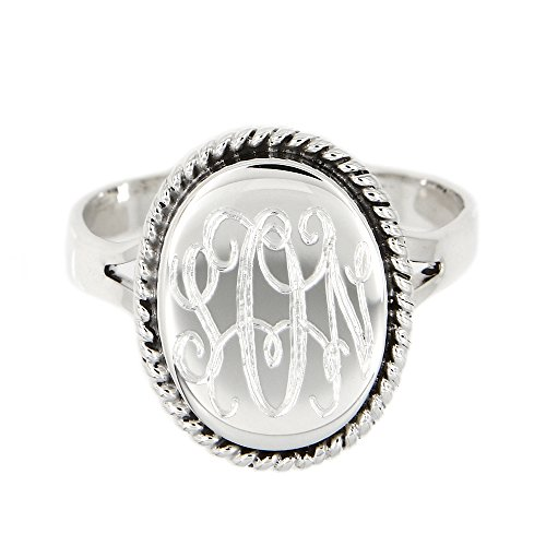 Lgu Sterling Silver Polished Signet Oxidized Rope Edge Oval Ring with Engraving - Ring Oval Signet Mens