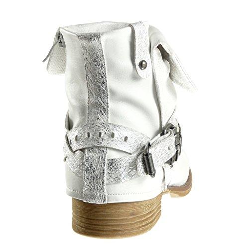 Angkorly - Scarpe da Moda Stivaletti - Scarponcini biker cavalier stile vintage donna pelle di serpente tanga borchiati Tacco a blocco 3 CM - Bianco