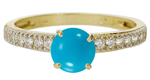 14k Yellow Gold Cabochon Natural Genuine Arizona Blue Turquoise Round Engagement Band Wedding Ring Size 9 by Sac Silver