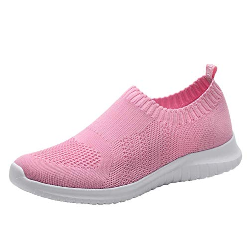 (konhill Women's Walking Tennis Shoes - Lightweight Athletic Casual Gym Slip on Sneakers 12 US Pink,44)