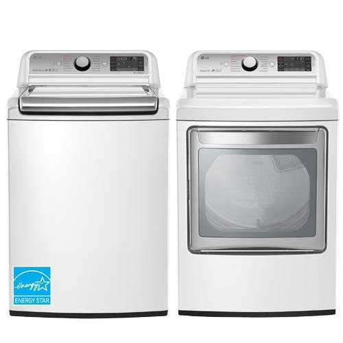 LG- POWER PAIR-Mega Capacity HE Top Load Laundry System with Steam and ELECTRIC Dryer with Innovative Easy-Load Door (WT7600HWA+DLEX7600WE)Pure White in Color