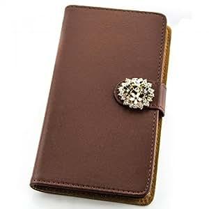 Portatil Style Design–Funda con función atril y diseño de diamantes de imitación Flip Cover Funda Carcasa Funda Case Modern Bag para LG G2(D802) en marrón