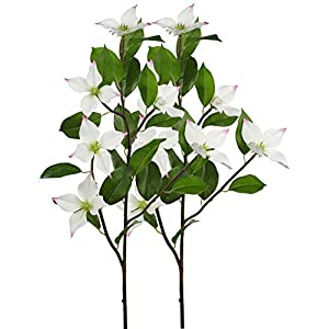 "Rinlong Artificial Dogwood Flowers Spray White 2pcs 36"" Dogwood Blooms Branches for Floral Arrangement DIY Crafts Indoor Decoration 82"
