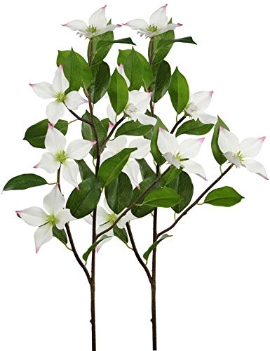 Rinlong Artificial Dogwood Flowers Spray White 2pcs 36