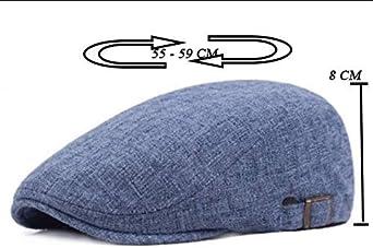 Wicemoon Boinas para Hombres Sombrero de Vendedor de Periódicos Informal Gorra Plana para Viajes al Aire Libre Azul 55-59 CM: Amazon.es: Ropa y accesorios