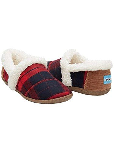 Plaid Slip Shoes (TOMS House Slipper - Women's Red / Black Plaid 6)