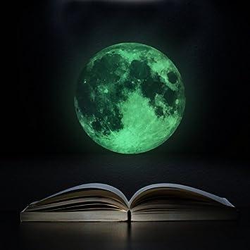 Ustensile de cuisine Autocollant mural dé coration de la maison 30CM Autocollants muraux lumineux de lune lumineux (Couleur : Green) Whyyudan