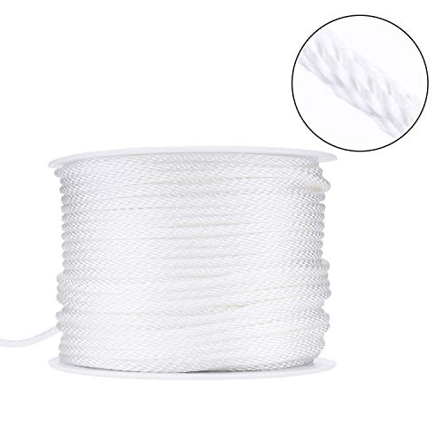 Canomo 1/8 inch Diameter Nylon Twist Cord String Rope Picture Hanging Cord Wire Hold Up to 30kg for Home Décor, Picture Mirror Hanging, 164 ()