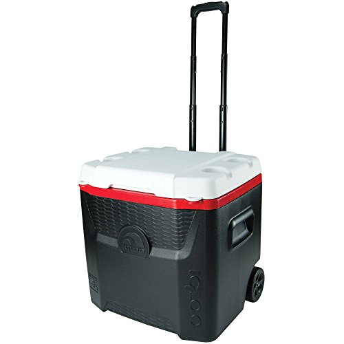 Igloo 52 Qt Quantum Wheeled Roller Locking Food and Drinks Camping Sport Cooler (Black/Red) (Igloo Cooler Car)