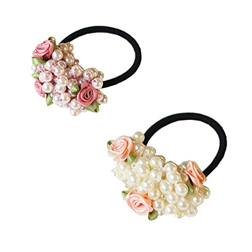 ShungFun Pearls Rose Flower Hair Elastics Hair Ties No Crease Ouchless Ponytail Holders Pigtail Ties Headwear Hair Styling Accessories for Women Girls (Set of 2pcs)