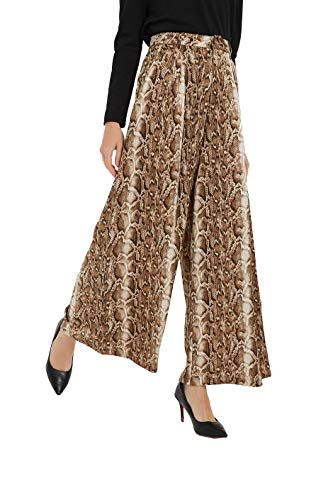 Tronjori Women High Waist Casual Wide Leg Long Palazzo Snake Skin Pants Trousers(S, Brown Snake Skin) ()