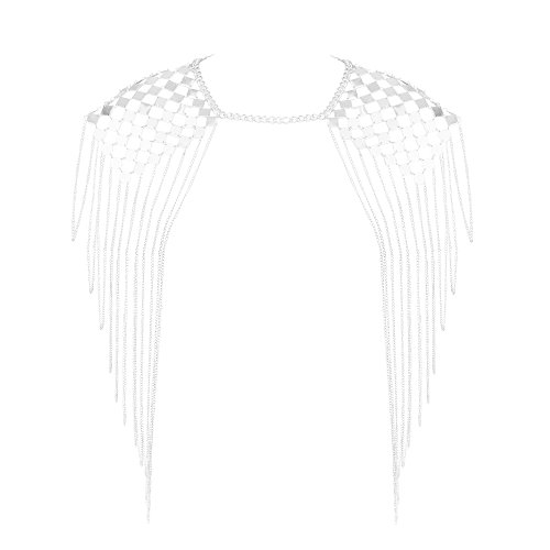 Beauty7 Harness Bikini Body Link Epaulet Shoulder Chain Necklace Collar Dangling Tassel Silver Tone by Beauty7