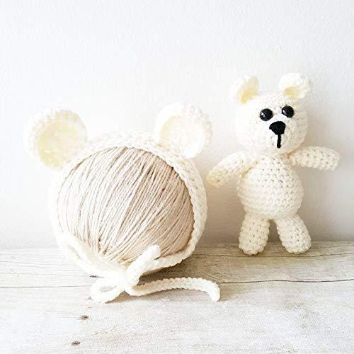 643e063d5 Amazon.com: Crochet Baby Bear Bonnet Hat Beanie Stuffie Stuffed ...
