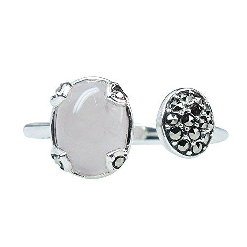 - Aura 925 Sterling Silver Ring Ice Rose Quartz, Marcasite #8