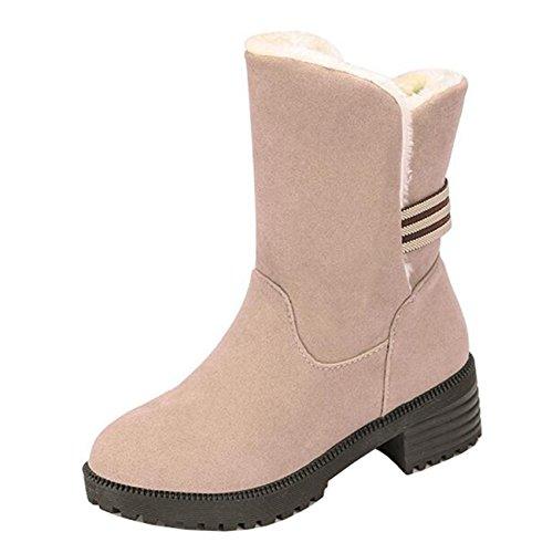 Mashiaoyi Women's Round-Toe Mid-Calf Block Heel Slip-On Snow Boots Beige 0nxLz4