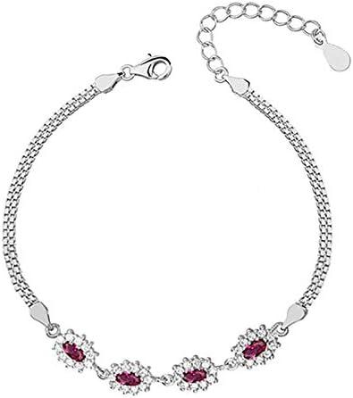 Beforya Paris Moonlight Zirconia Ruby - Pulsera ajustable con cristales Swarovski ~Elements®, plata de ley 925, pulsera para mujer con caja de regalo