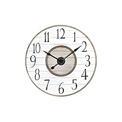 Creative Co-op 36 Inch Round White & Brown Distressed Wood Slat Clock, White