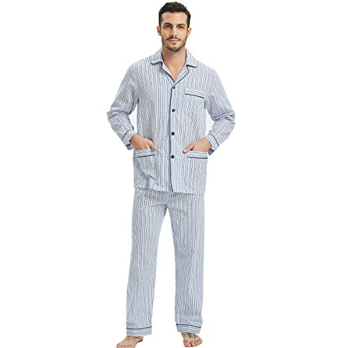 (Men's Long Sleeve Cotton Pajamas Broadcloth Top & Pants PJS Button-Down Sleepwear Lounge Set)