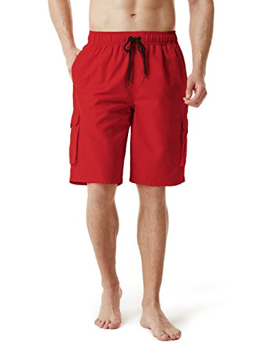 (TSLA TM-MSB01-RED_Medium Men's Swimtrunks Quick Dry Water Beach MSB01/MSB02/MSB03)