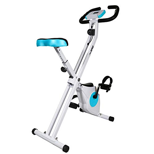 Xspec Foldable Stationary Upright Exercise Folding Workout Indoor Cycling Bike, Blue