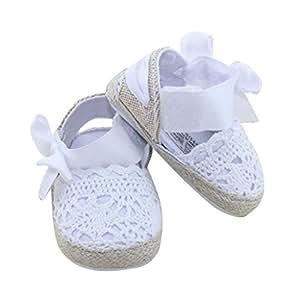 Koly Prewalker Zapatos, primeros pasos para bebé-niñas, sandalias de bowknot, flor de cordón (L, Blanco)