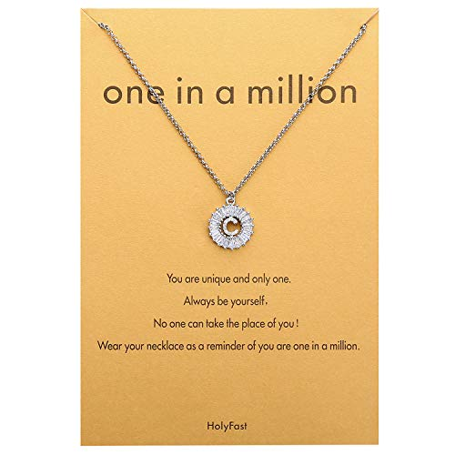 HolyFast Charm Necklace Message Card One in A Million Letter C Necklace Initial Necklace Round Necklace CZ Cubic Zirconia Pendant Woman Jewelry ()