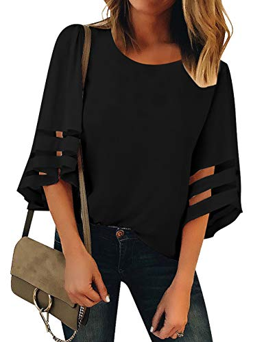 Vetinee Women's 3/4 Bell Sleeve Shirt Mesh Panel Blouse V Neck Casual Loose Tops