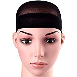 12 Pack Dreamlover Black Nylon Wig Caps, Stretchy Close End Stocking Wig Caps