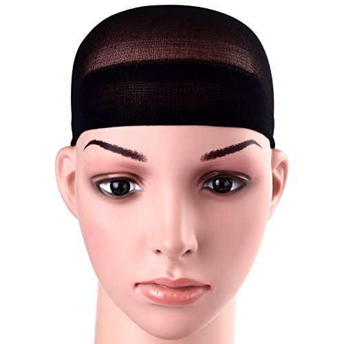 (12 Pack Dreamlover Black Stocking Wig Caps, Stretchy Nylon Close End Wig Caps, Each Paper Board Contains 2 Wig Caps (Black))