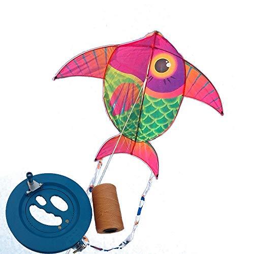 (Kite,Flying Spring Toy 1.4m Children's Kite, Beginner Kite, Easy to Fly (with Reel) Kite line Wheel Puller Multi-Style Optional (Color :)