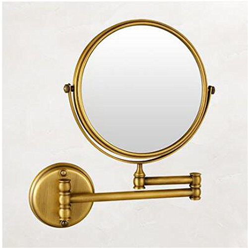 Antique 8'' Double Side Bathroom Folding Brass Shave Makeup Espelho Wall Mounted Extend With Arm Round Magnifying,Golden by GF Wood