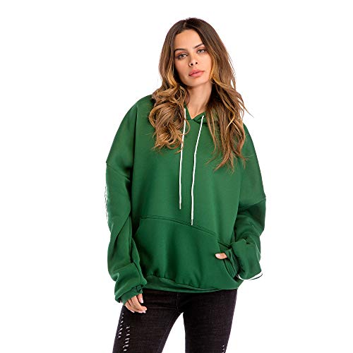 Unita Lunga XL Allentato Felpa Pullover WUYEA Plus Green Oversize Manica Donna Size con Casual Cappuccio Tinta nAqZxv