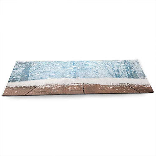 Winter Eco Friendly Yoga Mat Blizzard Scenery in Nature Wooden Planks Cold Freezing Morning Pine Trees Outdoors Anti-Tear W24 x L70